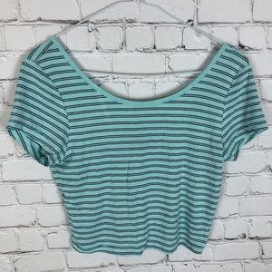 Set of 2 Crop Tops, Pink Striped/Blue Striped M